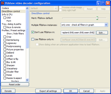 Adding ffdshow exceptions through the video decoder configuration