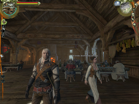 Like everyone else, Geralt is in and out of taverns a lot