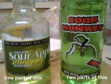 One part sour apple schnapps mixed with two parts Sour Monkey (Apple).