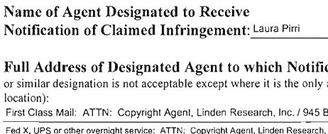 Linden Lab's Amended Interim Designation of Agent. Does she still work there? Oops! No, she doesn't!
