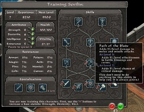 One of the class skill progression and attribute panels