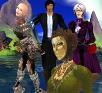 A group of Second Life avatars in a variety of outfits