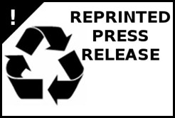 "Recycling logo followed by the words ""Reprinted Press Release"""