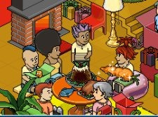 A scene from Habbo. Several avatars cluster around a table containing stylised foods, while one person holds a giant sparkling carrot